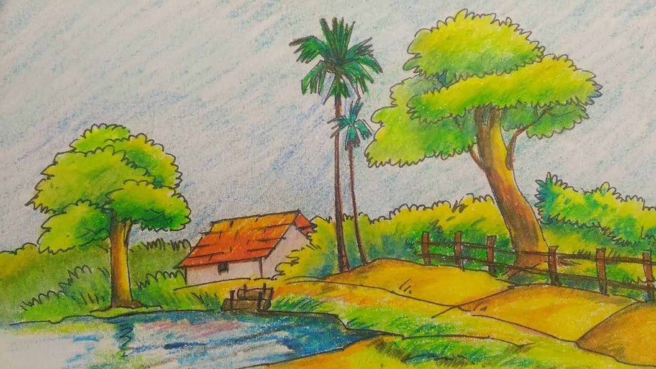 How To Draw A Easy Simple Landscape Kid S Drawing Tutorial Easy Nature Drawings Drawing Tutorial Landscape Drawing Easy