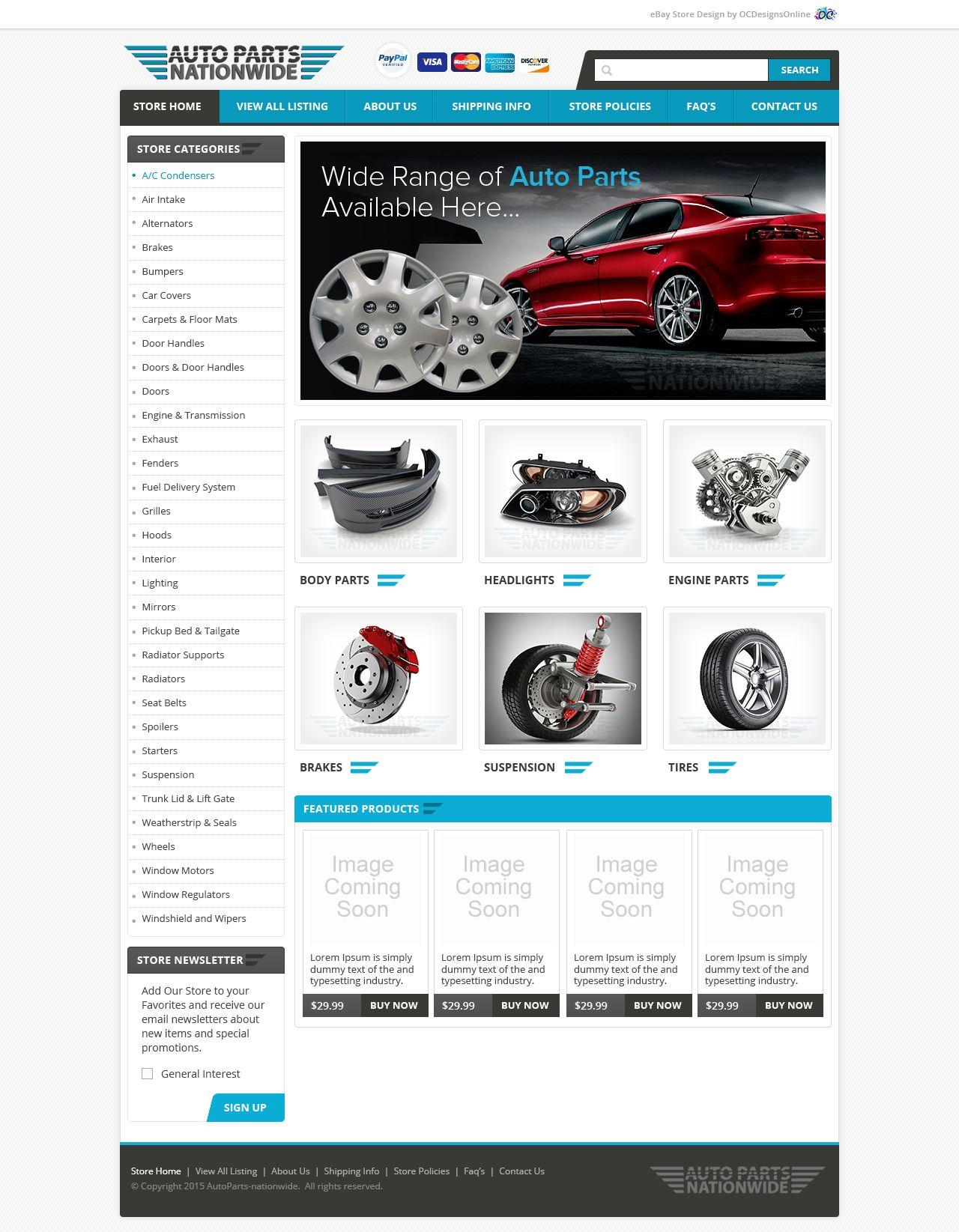 Custom Ebay Store Design For Autoparts Nationwide Ebay Store Design Email Design Website Design