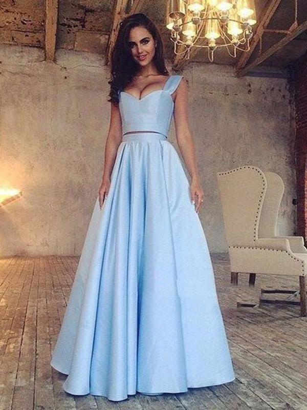 Two Piece Prom Dress Modest Beautiful Simple Cheap Long Prom Dress ...