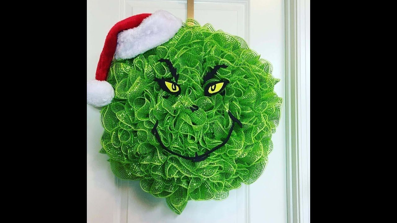 How To Make A Grinch Deco Mesh Wreath For Christmas