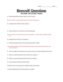 Beowulf Part IV -The Battle with Grendel's Mother-Questions | High ...