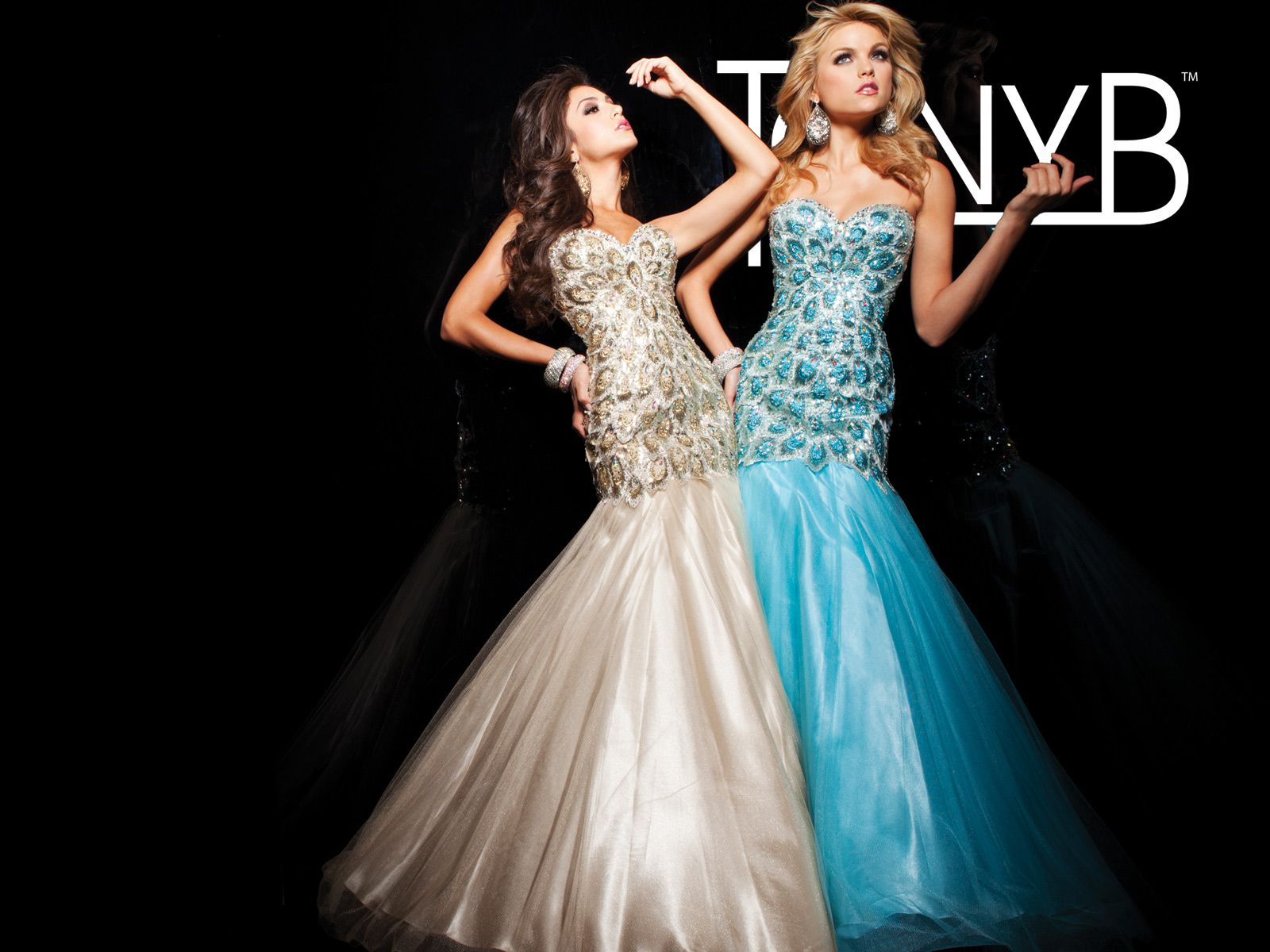 Strapless illusion prom dress with sweetheart neckline bodice
