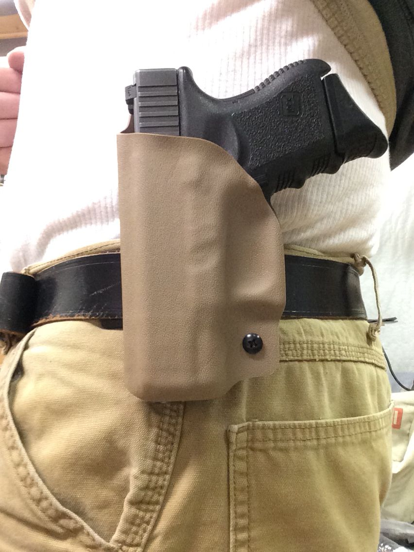 Glock 26 FDE kydex OWB holster, made for a south paw! www