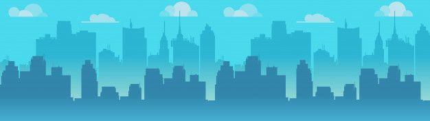 City skyline illustration blue city sil  Premium Vector