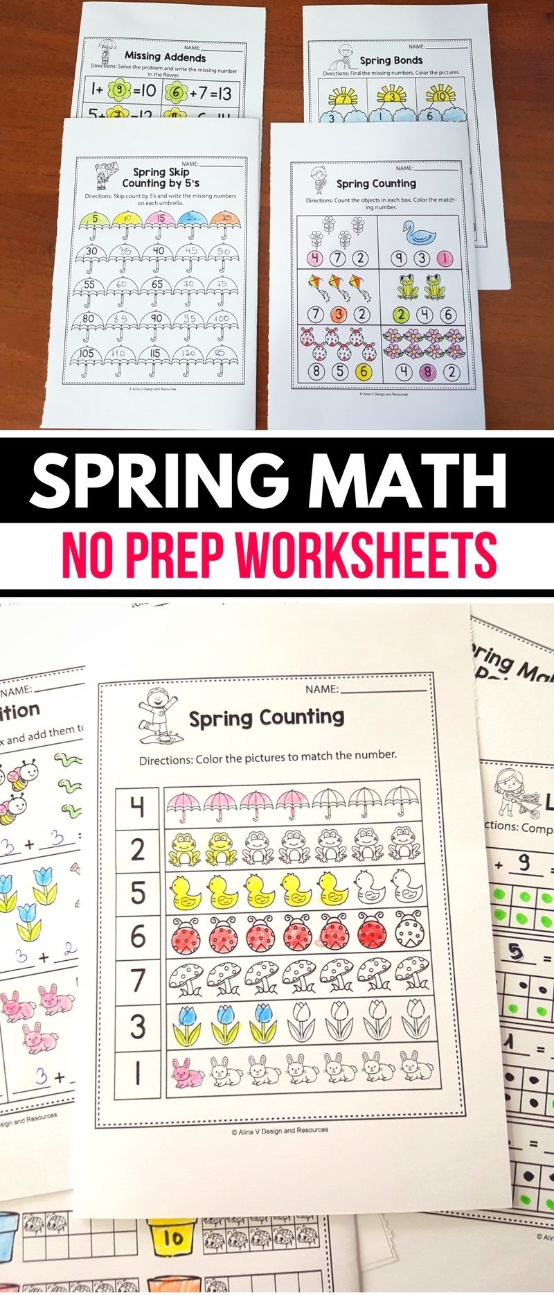 Free Spring Math Worksheets And Activities For Preschool Kindergarten And 1st Grade Kids Spring Math Worksheets Kindergarten Math Worksheets Math Worksheets [ 1868 x 800 Pixel ]
