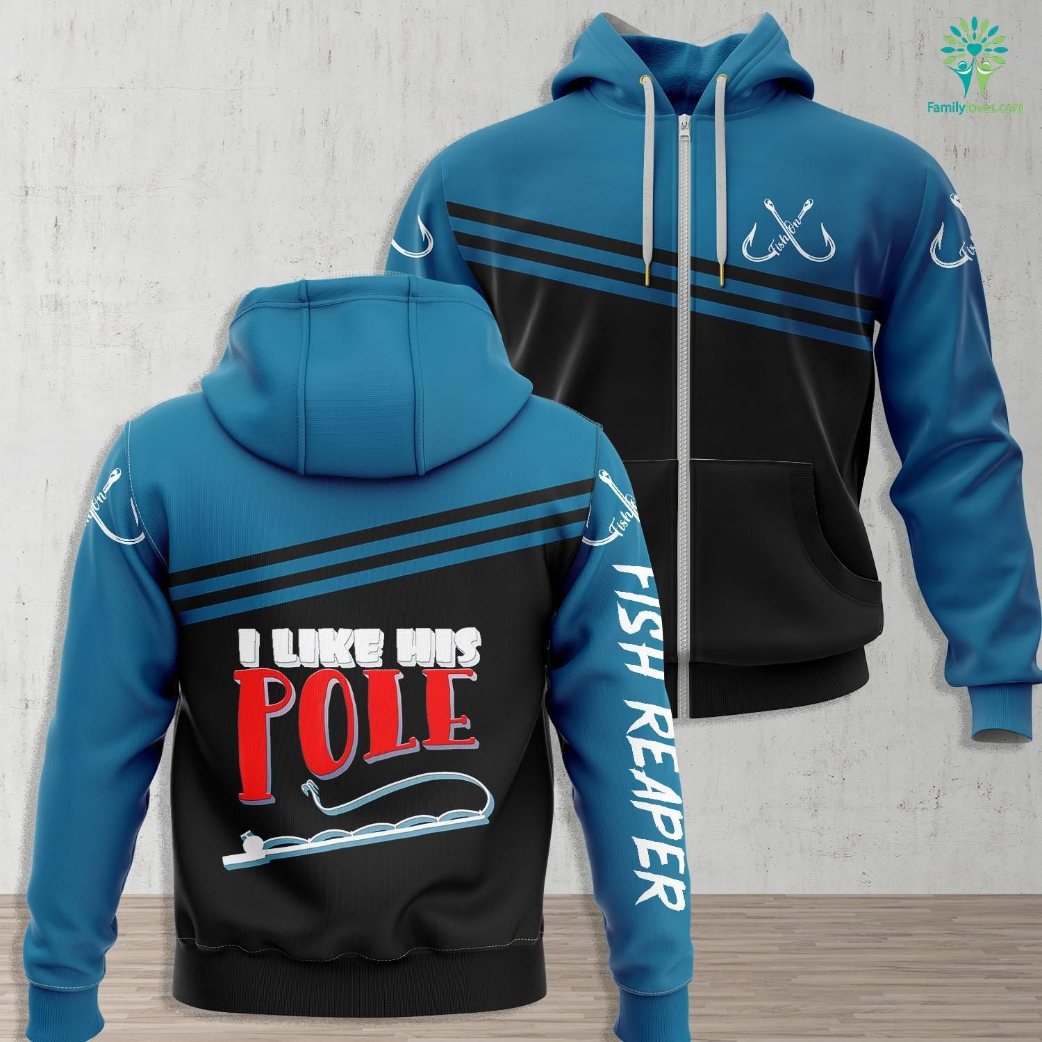 Galveston Fishing Guides Womens I Like His Pole Funny Fishing Couples Fishing Zip up Hoo All Over Print Familyloves