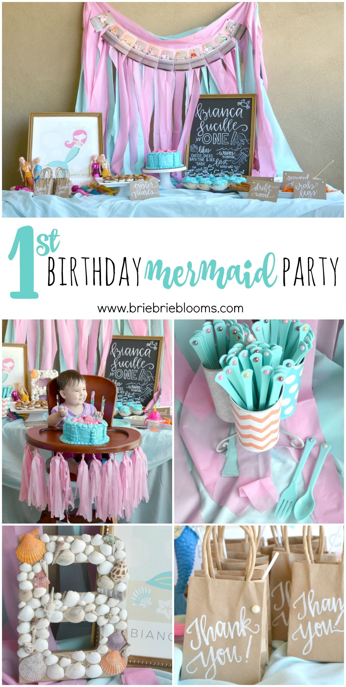 This First Birthday Mermaid Party Is Beautiful The Whimsical Pink And Turquoise Theme Was Further Embellished By Pearls