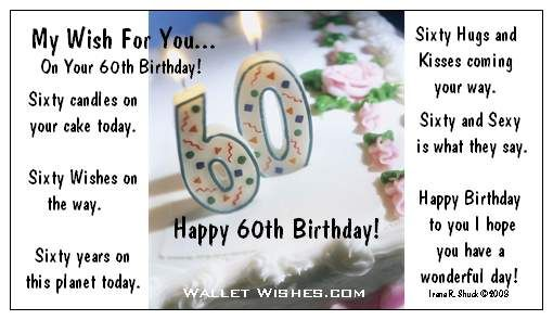 60 Th Birthday 60th Messages Happy Wishes Quotes