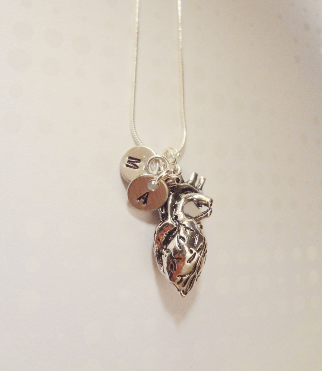 Human Anatomical Heart Necklace Anatomy Heart with Two Initials Gift ...