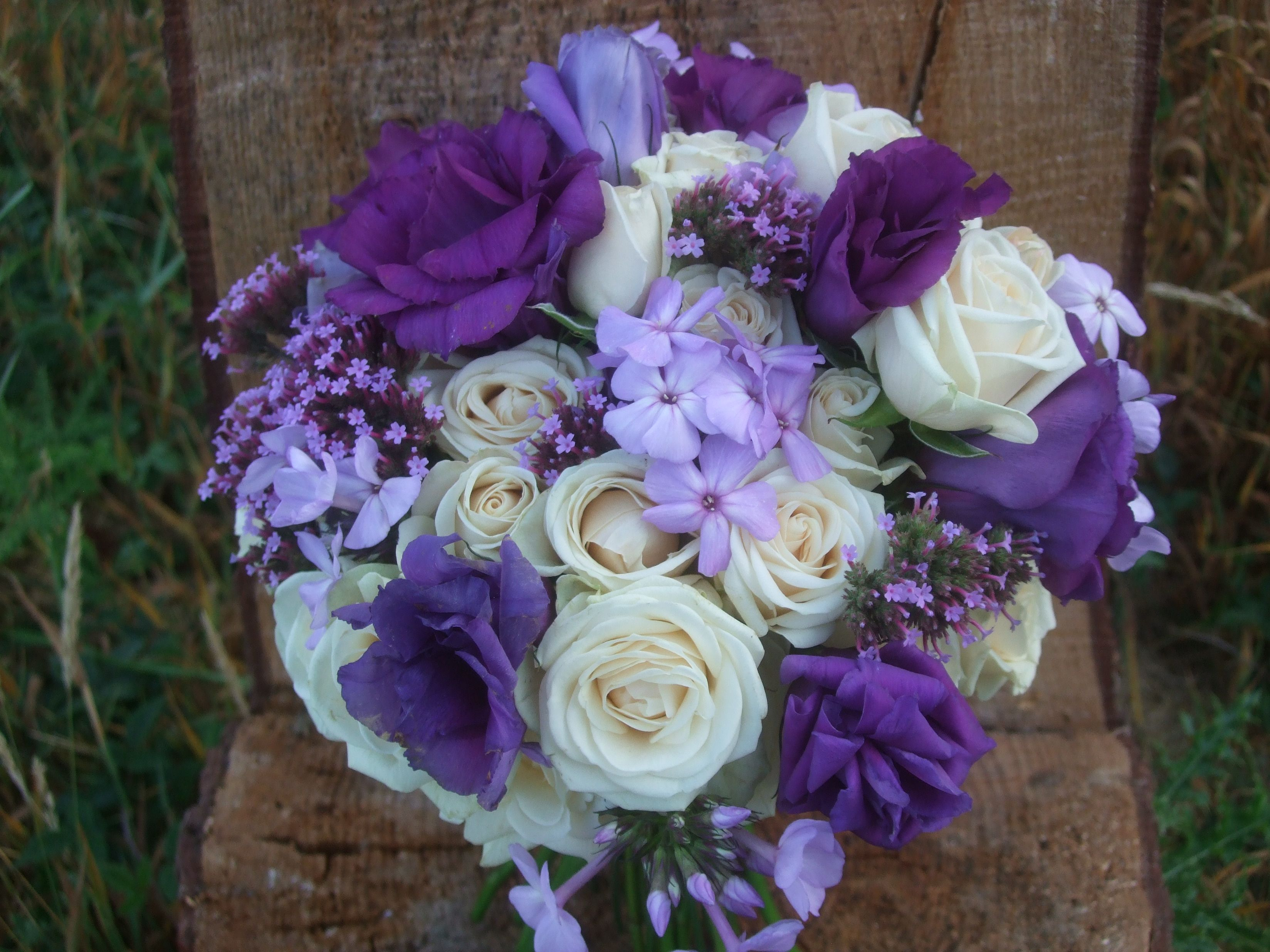 Purple And Cream Bridal Bouquet Creamy Spray Roses With Purple