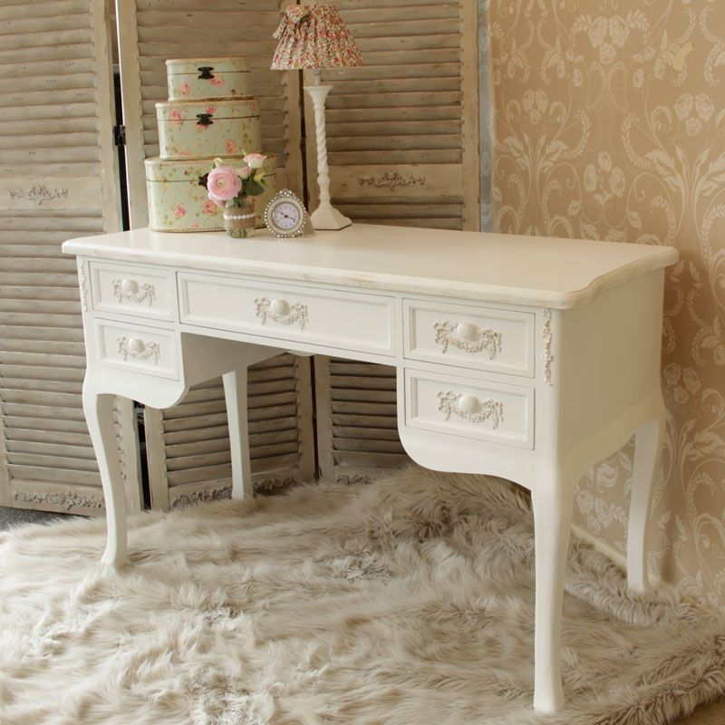 Pays Blanc ' Large 5 drawer antique white dressing table / writing desk  distressed computer - White Dressing Table Desk - Pays Blanc Range White Dressing Tables