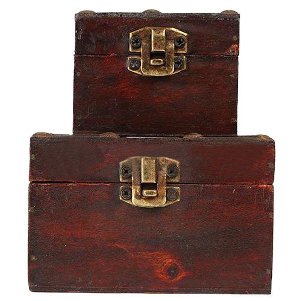 Retro Vintage Wooden Jewelry Trinket Box Storage Organizer Holder Case-Ch