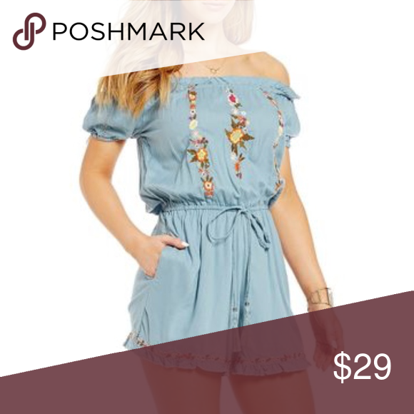 91557804a5c Angie Blue Off the Shoulder Embroidered Romper Brand new with tag Trendy  boho chic embroidery floral brings Southwestern flavor to a laid-back romper  with a ...