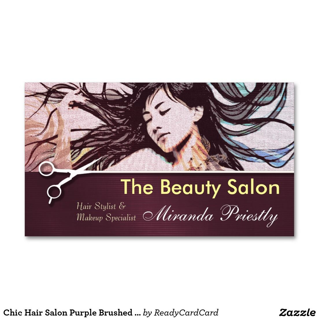Chic Hair Salon Purple Brushed Metal Business Card | Brushed metal ...