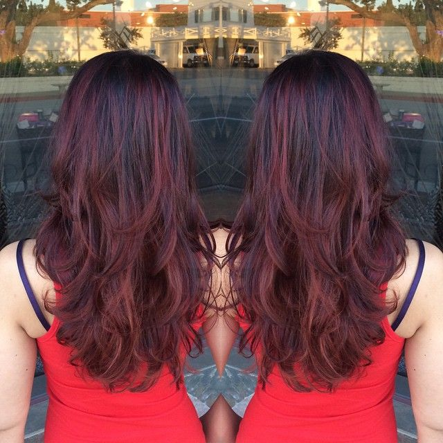 Deep Red Violet Base With Red Balayage  Hair Color Amp Styles  Pintere