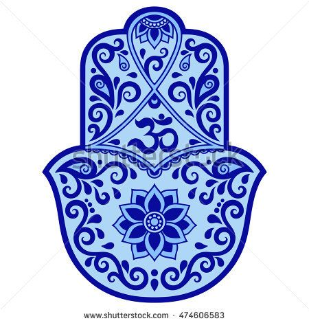 Color Vector Hamsa Hand Drawn Symbol Om Symbol Hamsa Pinterest
