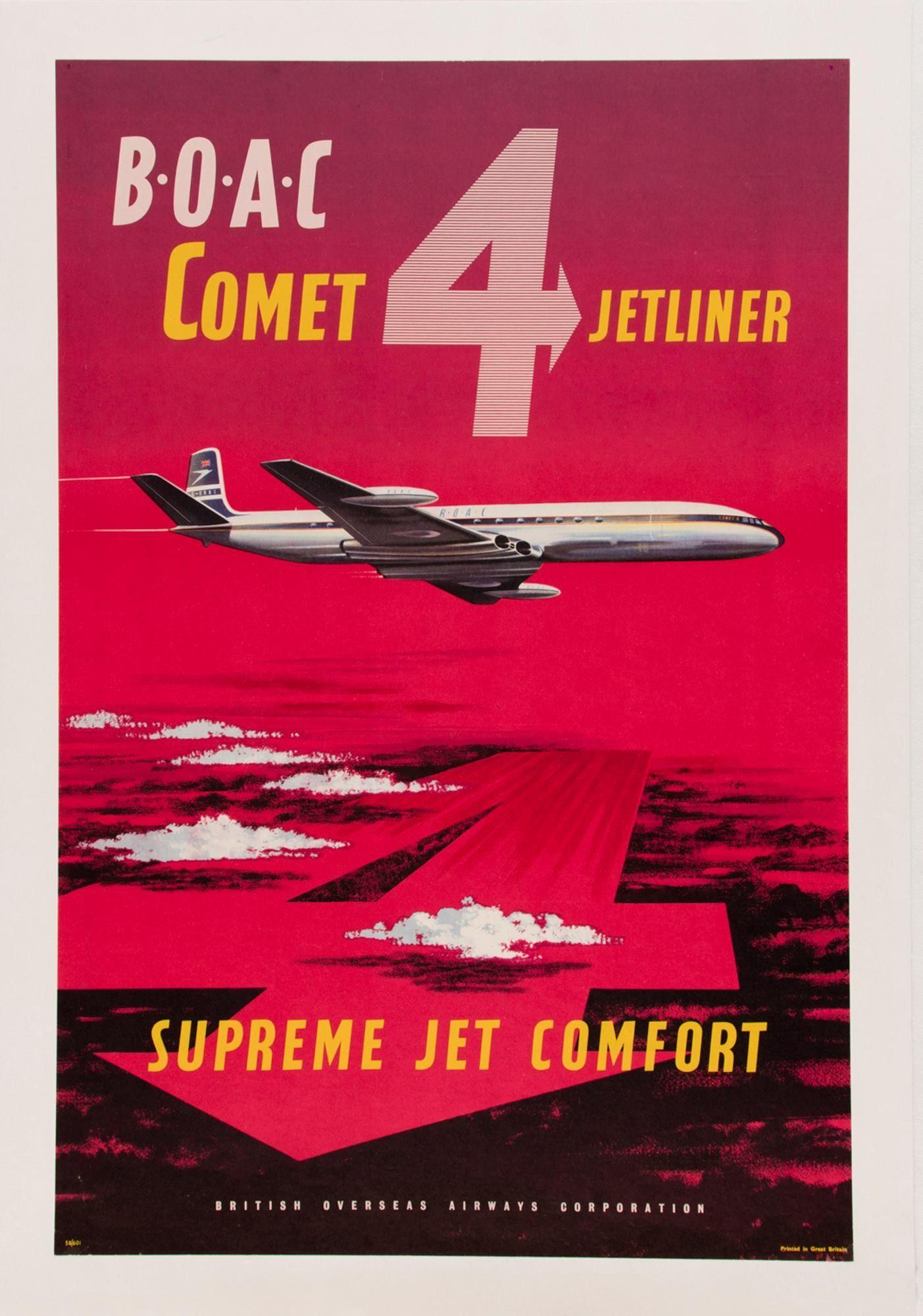 Vintage British Airways Flights to Paris Poster A3//A4 Print
