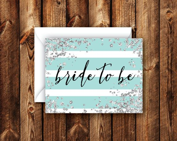 Customizable Turquoise and Silver Glam Bride to Be Card Turquoise Striped For the Bride Folded Blank Note Card Bridal Wedding Shower Card