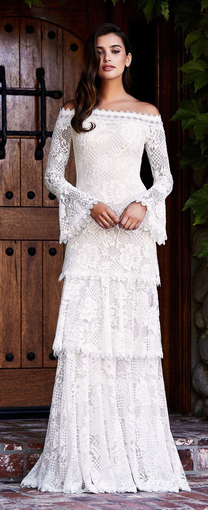 dabaf37d68e39 Off the shoulder long sleeves tiered wedding dress Tadashi Shoji bridal  fall 2018 #weddingdress #wedding #weddinggown