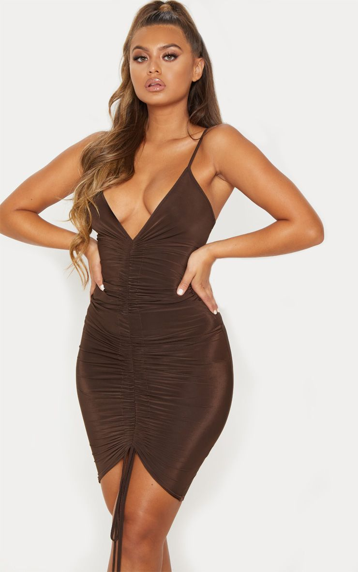 4436c286fd Chocolate Brown Ruched Front Midi Dress in 2019