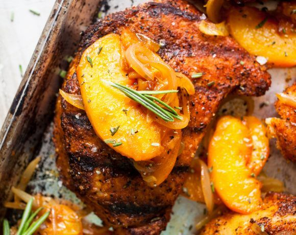 BBQ Rubbed Pork Chops with Peaches