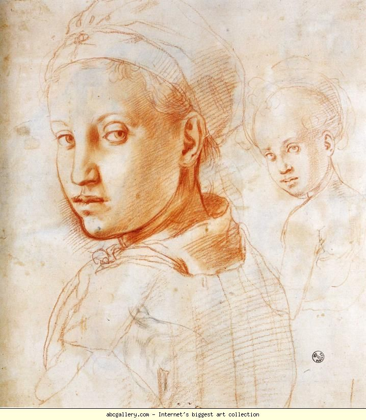 Pontormo. Study of a Youth Turning His Head. c.1528-1530. Red chalk. 29 x 27 cm. Galleria degli Uffizi, Florence, Italy.
