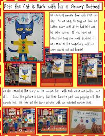 Golden Gang Kindergarten: Pete the Cat is Back With His 4 Groovy Buttons! Math Freebies