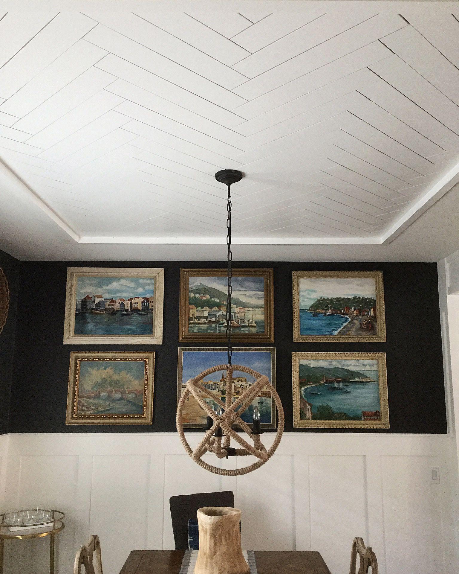 Herringbone Ceiling Millwork Board And Batten Dining Room Wall Art Alluring Dining Room Wall Art Inspiration Design