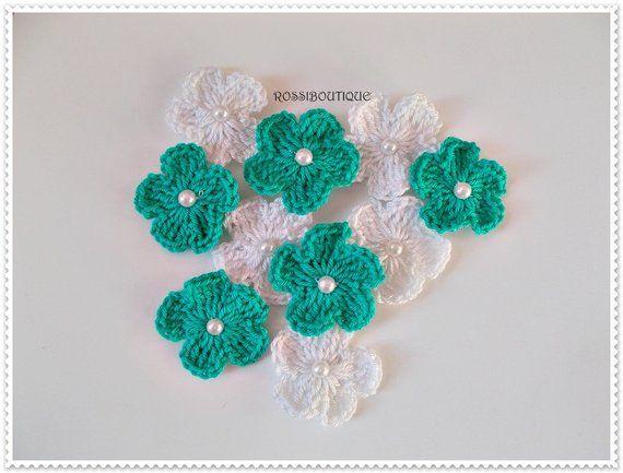 Crochet appliques crochet flowers appliques turquoise white