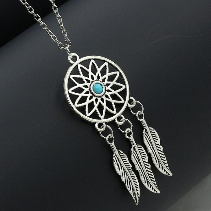 Fashion retro antique silver plated dream catcher feather pendant dreamcatcher necklace antique silver tone dreamcatcher necklace with a light blue bead at the center and 3 feather charms dangling from the bottom aloadofball Choice Image