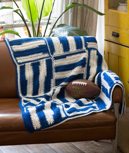 Stadium Crochet Lapghan Free Pattern from Red Heart Yarns | Game Day ...