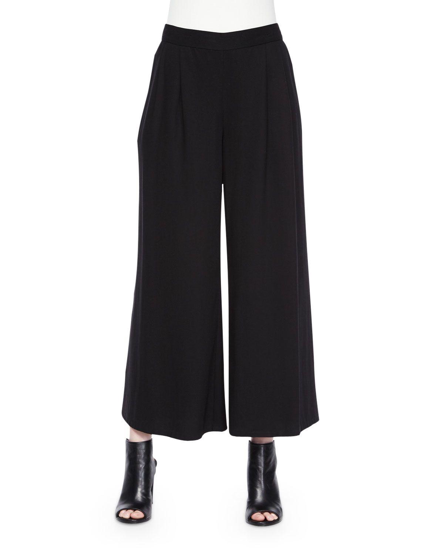 4b4405d5f3b Woven Tencel® Grain Wide-Leg Cropped Pants