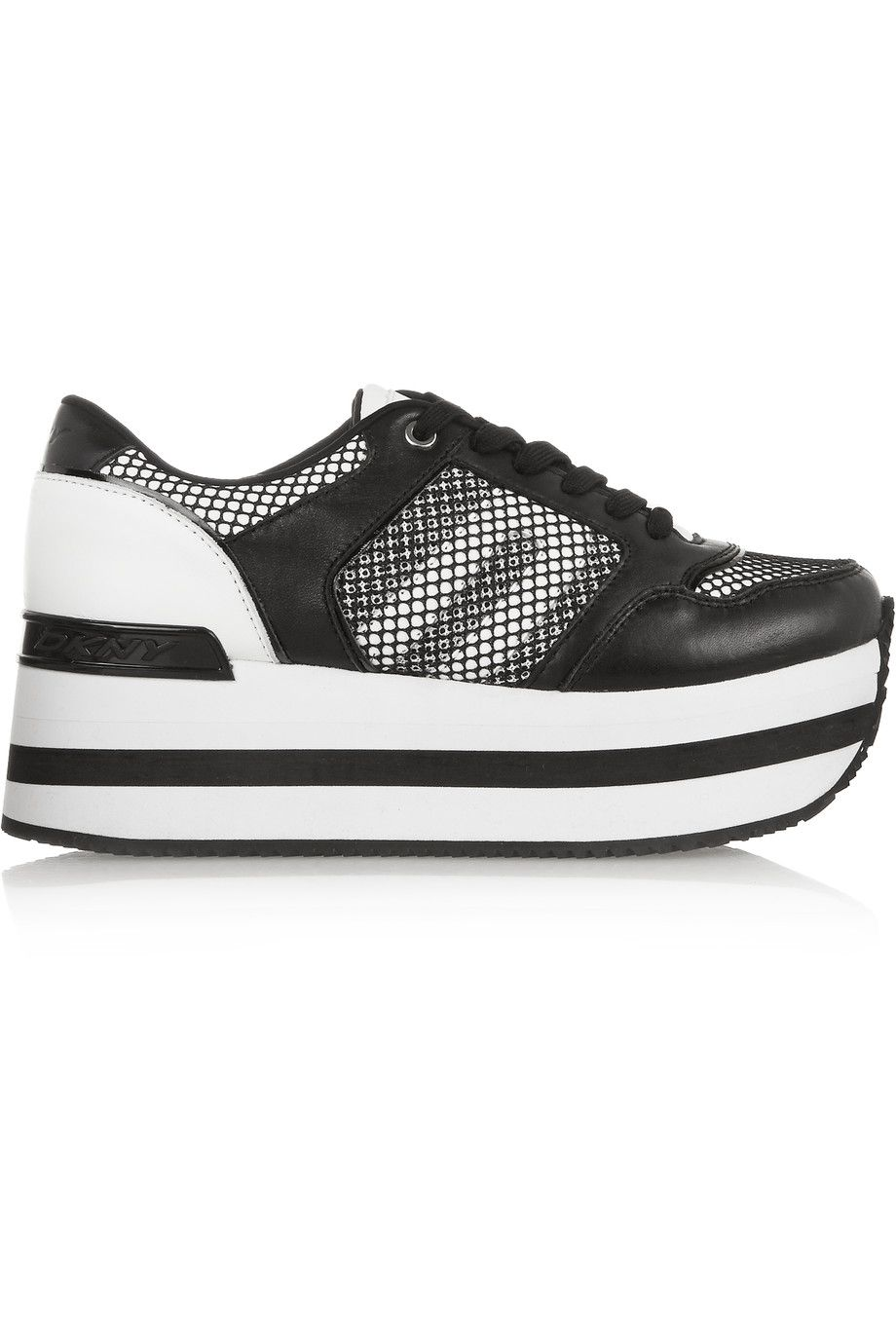 a1dcc2b3bbf DKNY Jill Leather And Mesh Platform Sneakers. #dkny #shoes #sneakers ...