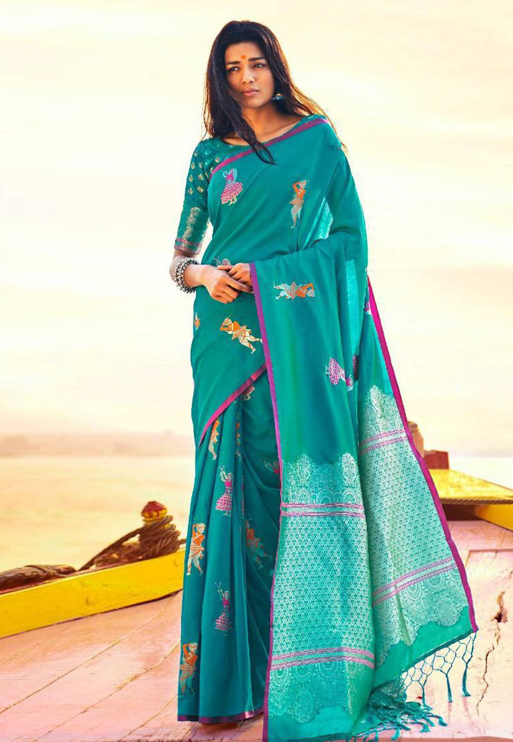 b460157739e59 Buy Turquoise Silk Saree With Blouse 157382 with blouse online at lowest  price from vast collection