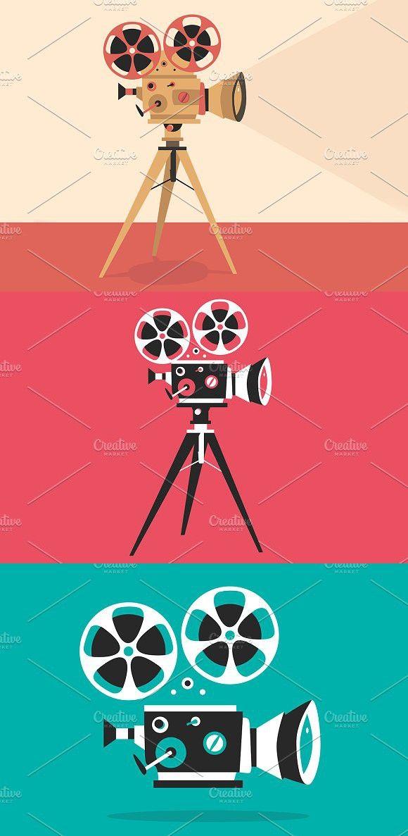 Set Of Retro Movie Projectors Movie Projector Theatre Illustration Film Design