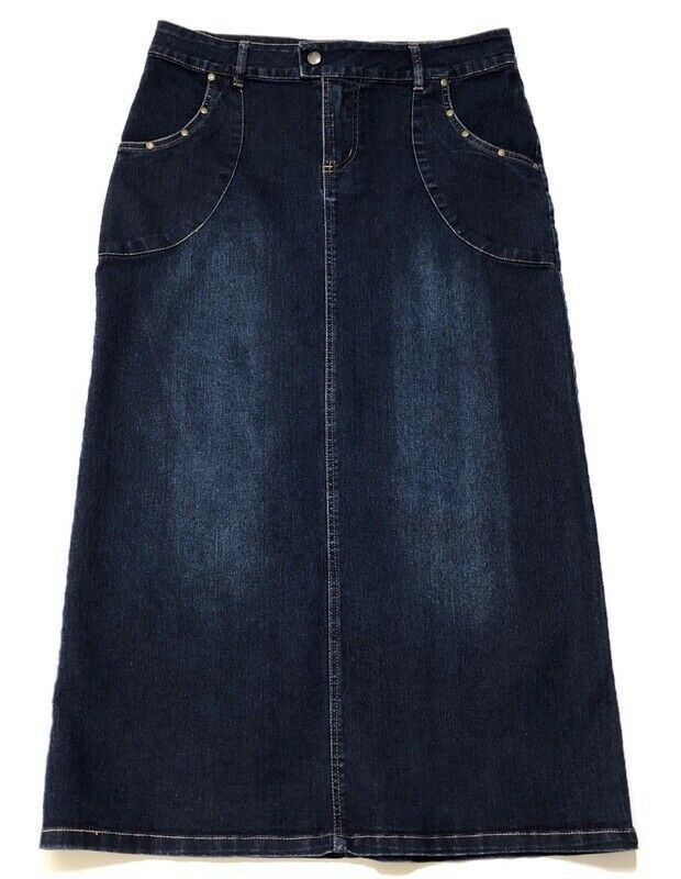 Darling Denim Indigo Modest Skirt | Long Jean Skirt Plus ... |Western Long Denim Skirts Modest