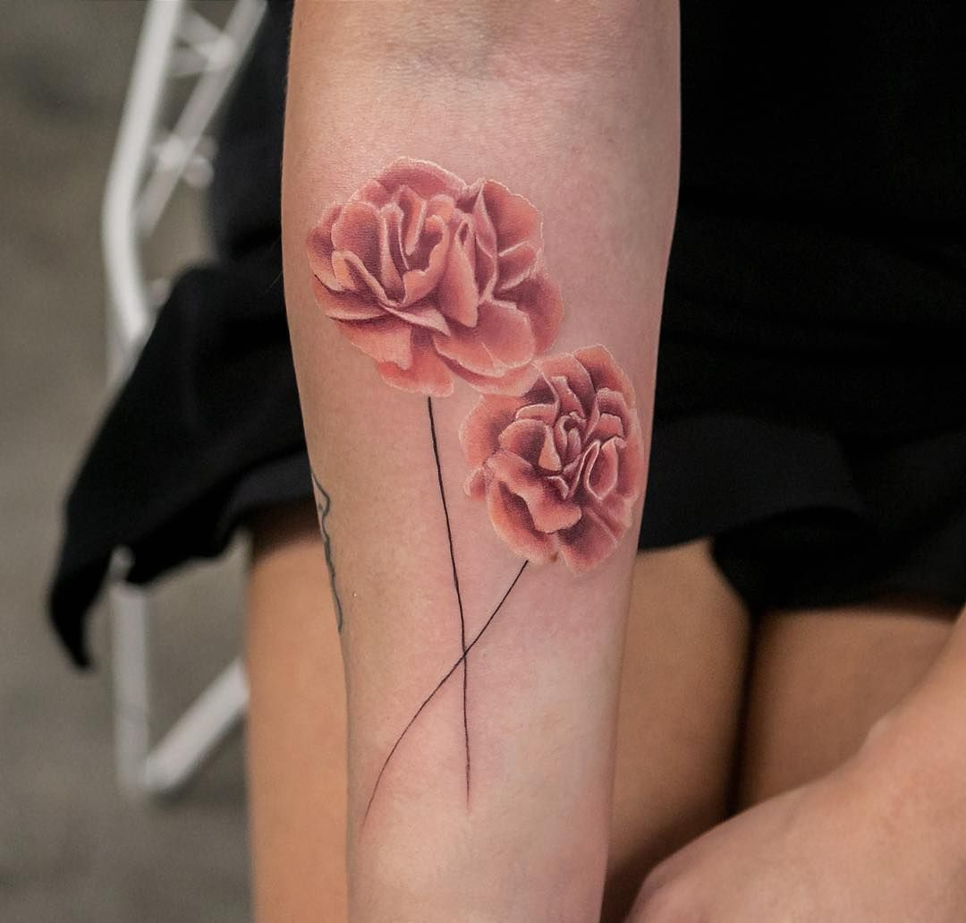 The Watercolor Flower Tattoos Done This Year Are Sensational Here Are The Most Captivating Flower Tatt Carnation Tattoo Carnation Flower Tattoo Flower Tattoos