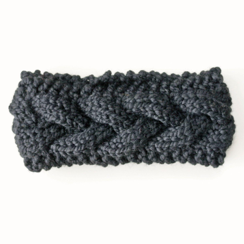 Black warm cable knit headband earwarmer in easy care wool chunky black warm cable knit headband earwarmer in easy care wool chunky knits crochet earwarmer bankloansurffo Images