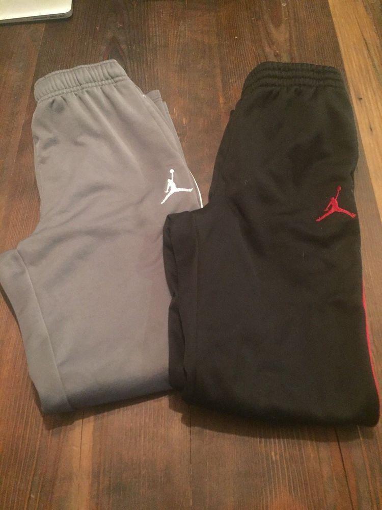ef1e3553a8de Lot of 2 Boys Sweatpants Nike Air Jordan Pants Gray   White Black   Red  Large  Nike