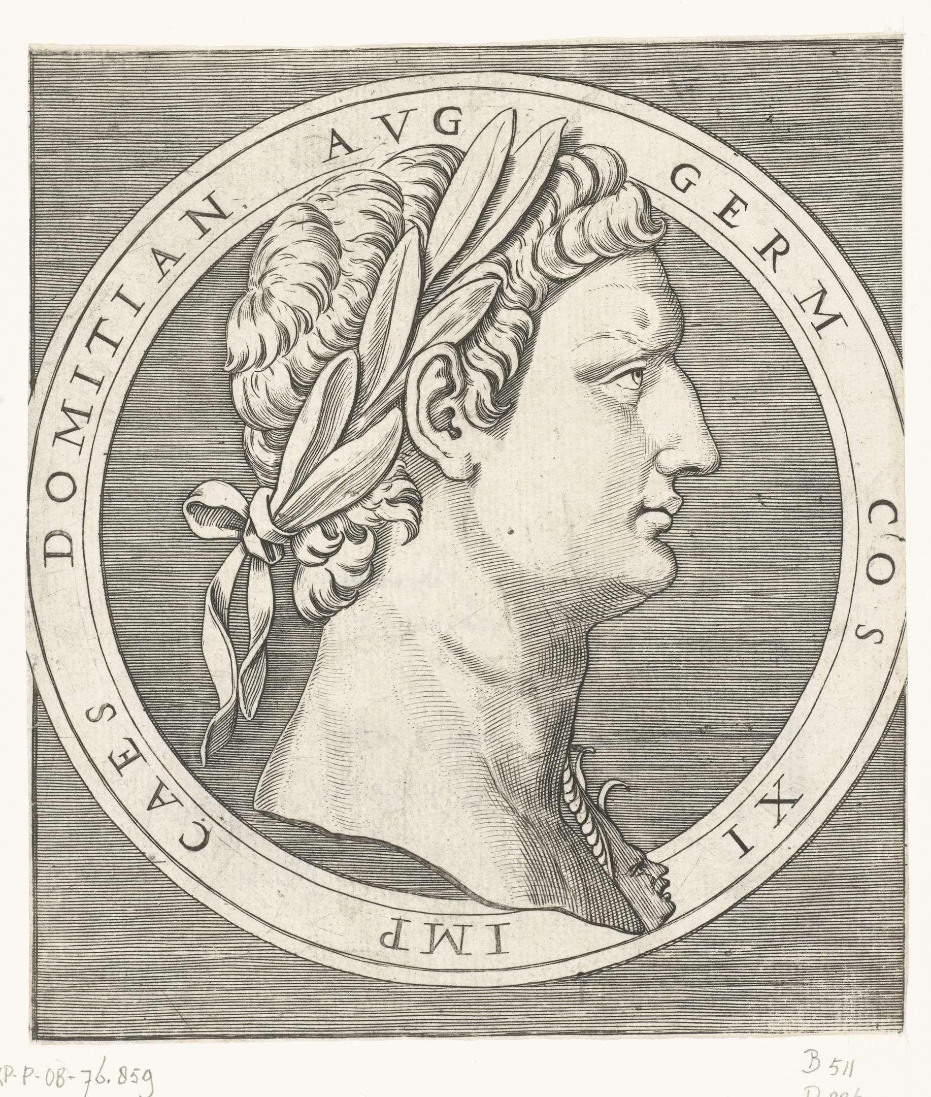 Marcantonio Raimondi | Portret van keizer Domitianus in ronde omlijsting, Marcantonio Raimondi, 1510 - 1527 |