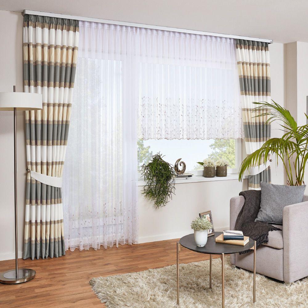 Gardine mit Querstreifen  Gardinen wohnzimmer, Gardinen, Vorhänge