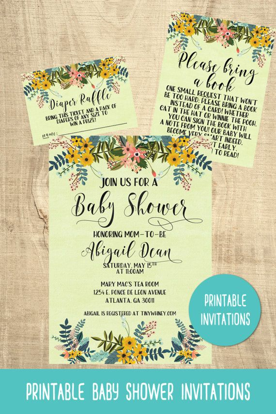 Yellow flower baby shower invitations | floral | gender neutral | printable