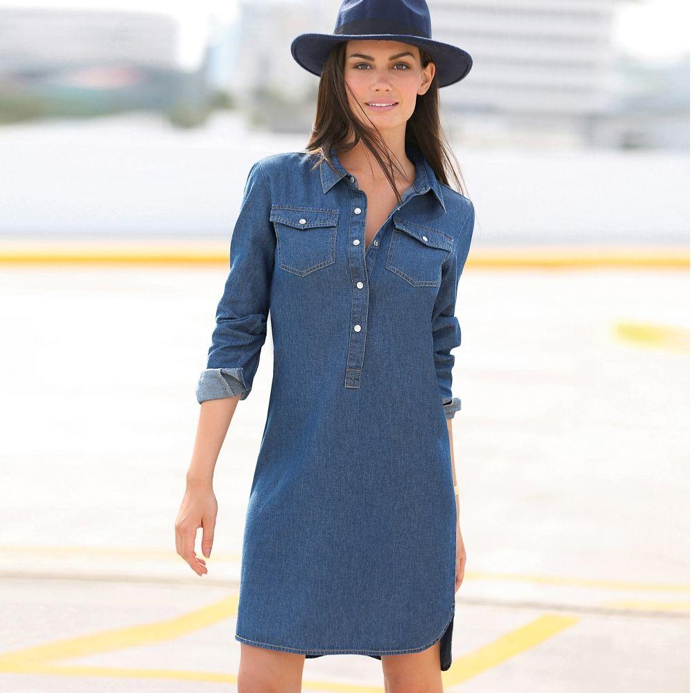 Robe en jean à ouverture pressionnée   Vue catalogue   Womens ... a554f06cb6b