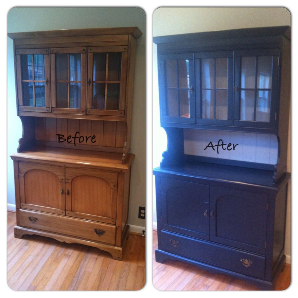 China Hutch Refinished With Chalk PaintR By Annie Sloan Graphite And Paris Grey Completed