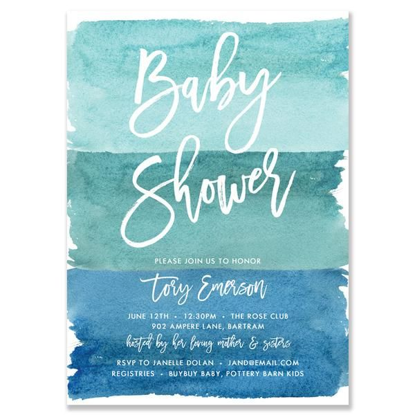 Tory Turquoise Watercolor Baby Shower Invitation Miller Baby