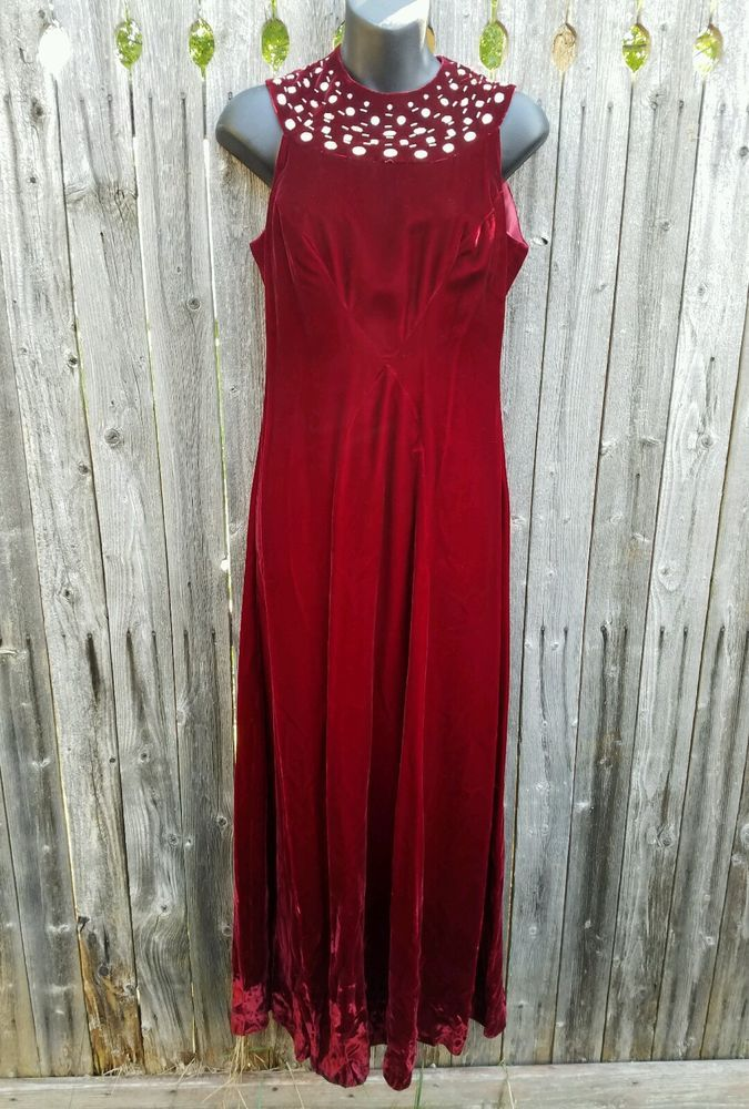 ed465367043d Vintage Handmade Red Velvet Dress Rhinestones Maroon Pin Up Sexy Theater  Small