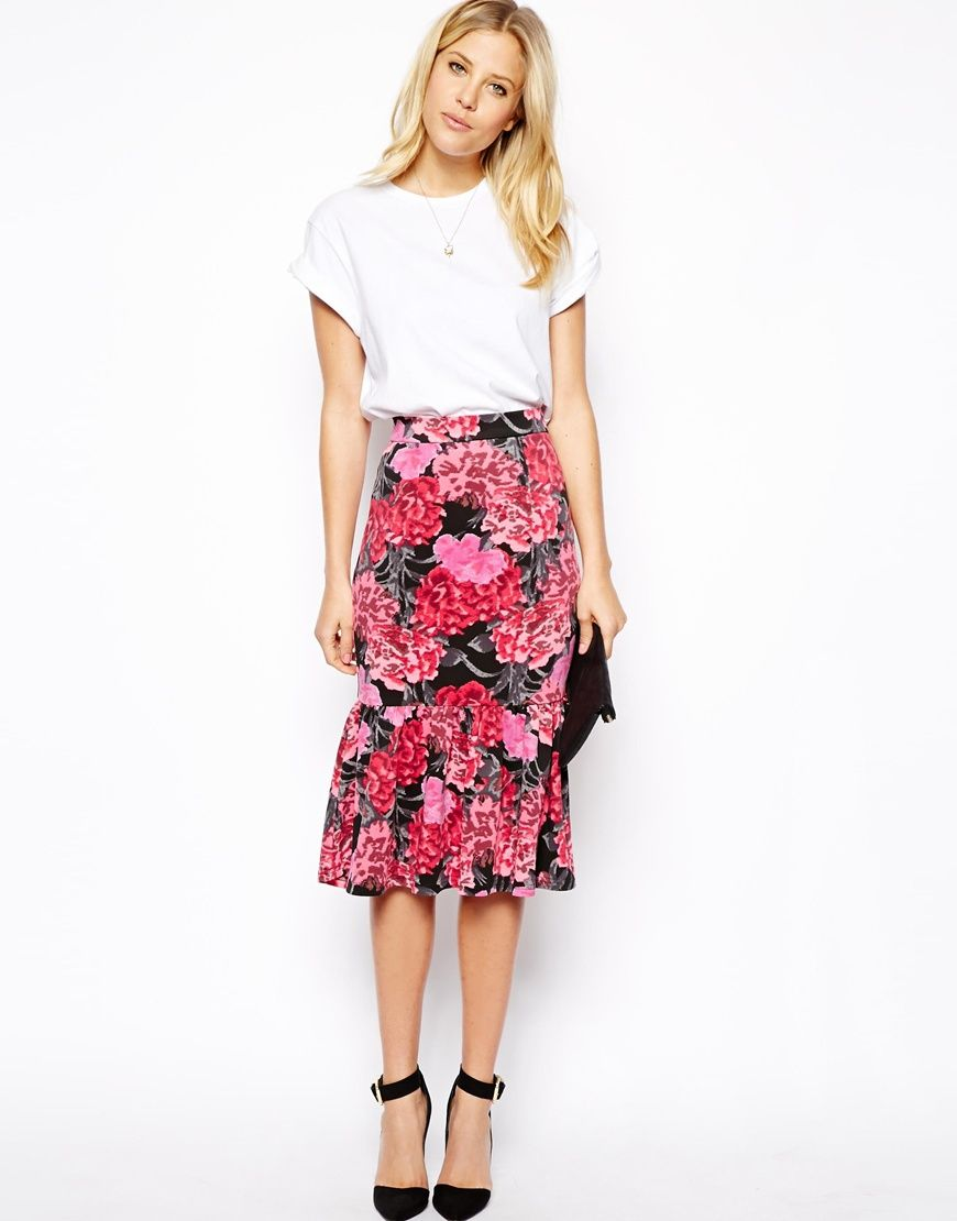 ASOS Scuba Pencil Skirt in Floral Print with Peplum Hem | stylish ...