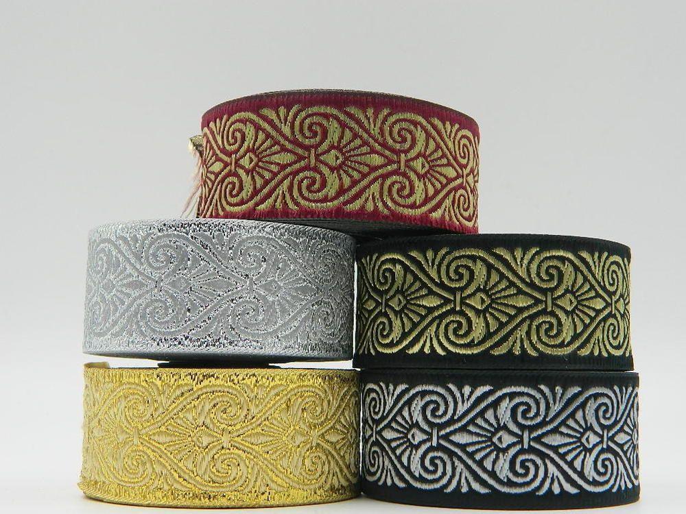 10m Jacquard Woven Ribbon//Trim   33mm width Various colours available