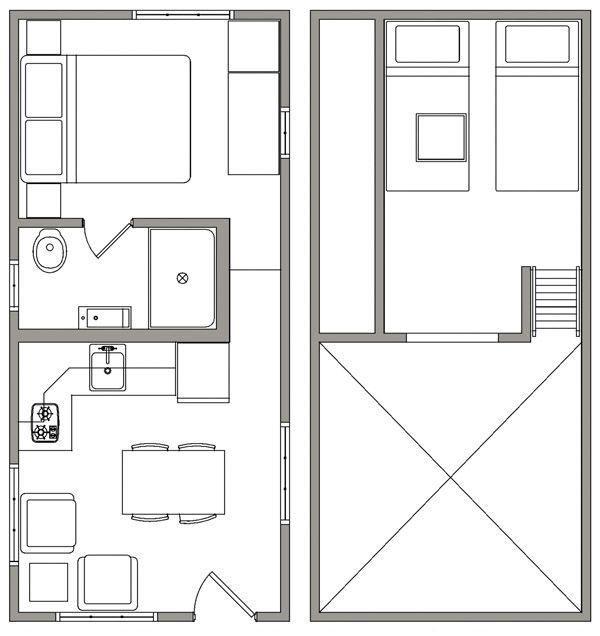 Bunk house floorplan tiny houses pinterest tiny for Small bunkhouse floor plans