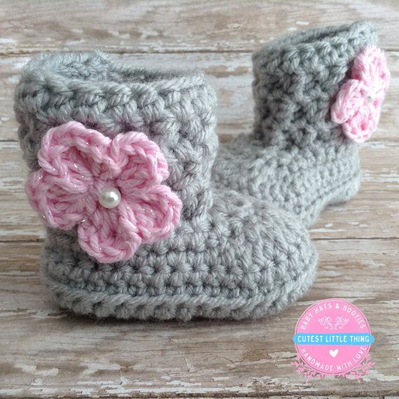 Photo of Items similar to Baby Girl Boots, Crochet Baby Girl Booties, Gray Baby Booties with Pink Flower, Newborn Boots, Baby Boots, Baby Shower Gift, Ugg boots on Etsy